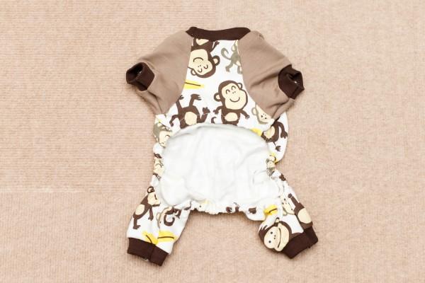 サル柄の小型犬用の服の裏側